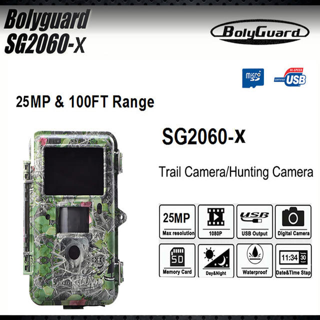 Bolyguard Wildlife Hunting Camera Black Infrared Trail Game Scouting 25MP 1080P HD 100ft Det Range Motion Sharp Technology