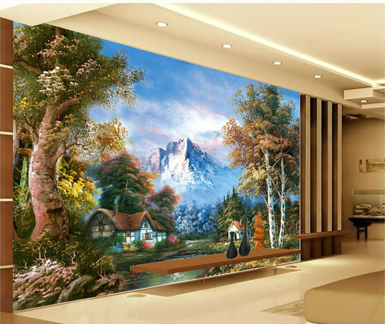 Mountain forest nature since the design of modern household wall paint  murals background