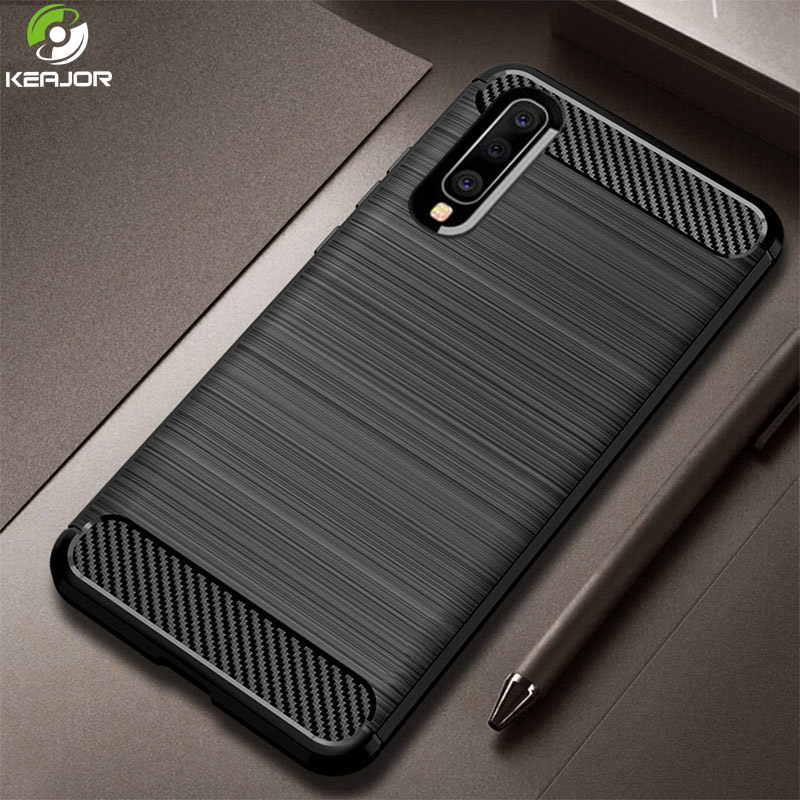 Keajor Case For Samsung Galaxy A70 Soft Silicon Cover Carbon Fiber Phone Shockproof Funda A 70