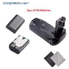 Capsaver bg-1t вертикальный Батарейная ручка держатель с 2 шт. LP-E6 Батареи для Canon EOS 70D 80d Замена для BG-E14 Батарея комплект