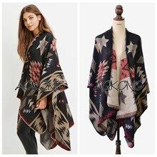 Top mode limitée noir acrylique adulte femmes Poncho couverture Cape  Oversize géométrique Tribal Style aztèque Ponchos châles en. 15e12071266