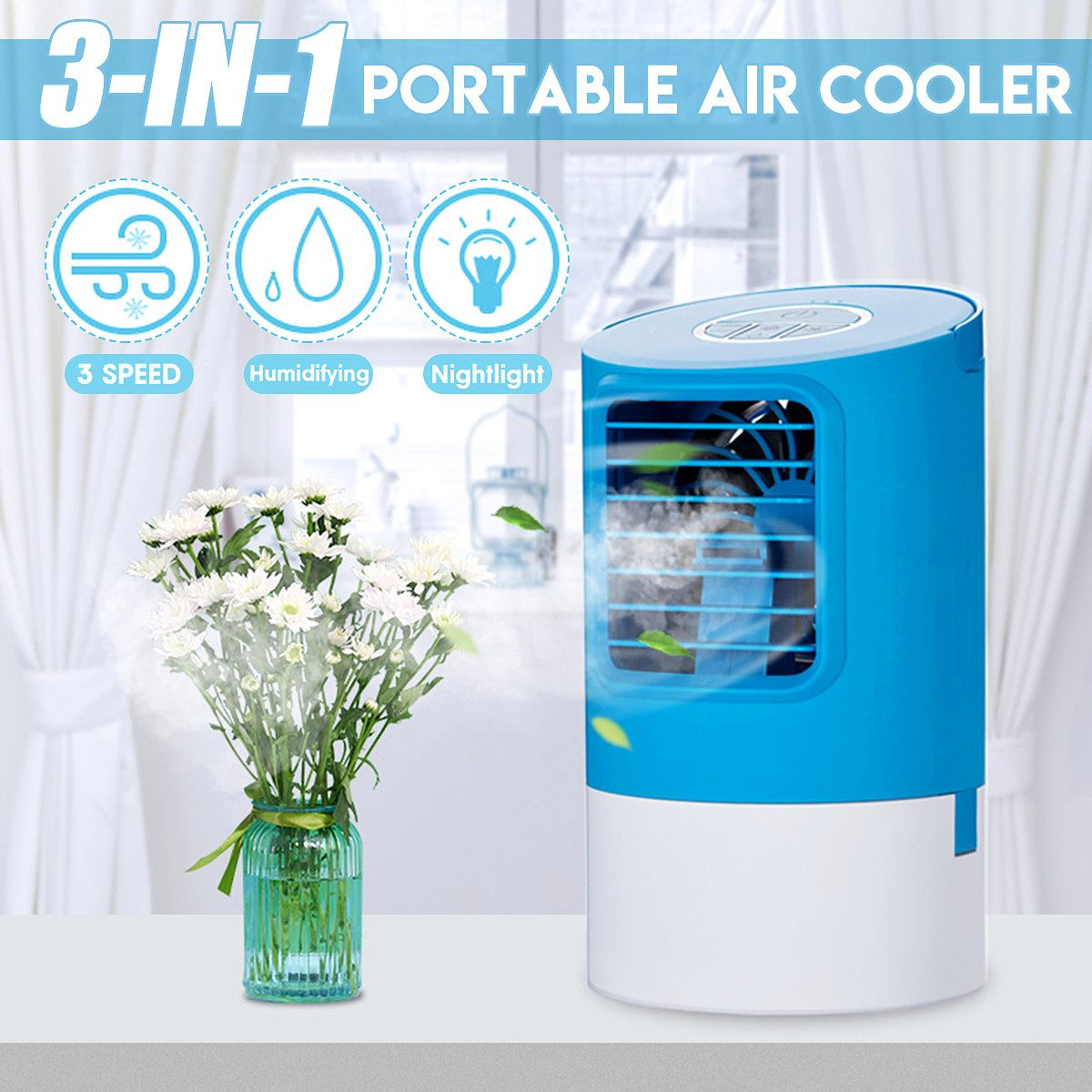 18W Mini Portable Air Conditioner Humidifier Cooler Desktops Household Air Cooling Cooler Fan LED Night Light for Office Home18W Mini Portable Air Conditioner Humidifier Cooler Desktops Household Air Cooling Cooler Fan LED Night Light for Office Home