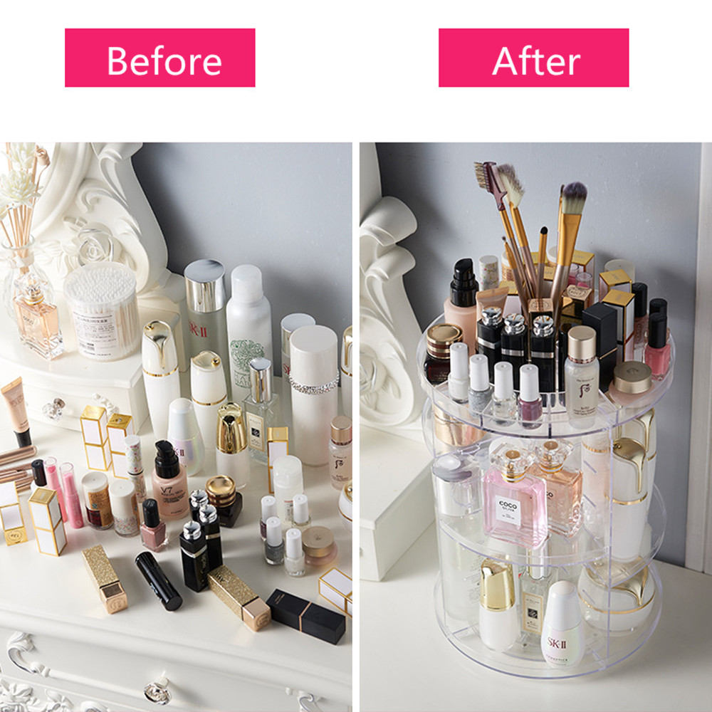 360 Degree Rotation Transparent Acrylic Cosmetics Storage Box Fashion Multi-function Detachable Makeup Beauty Organizer