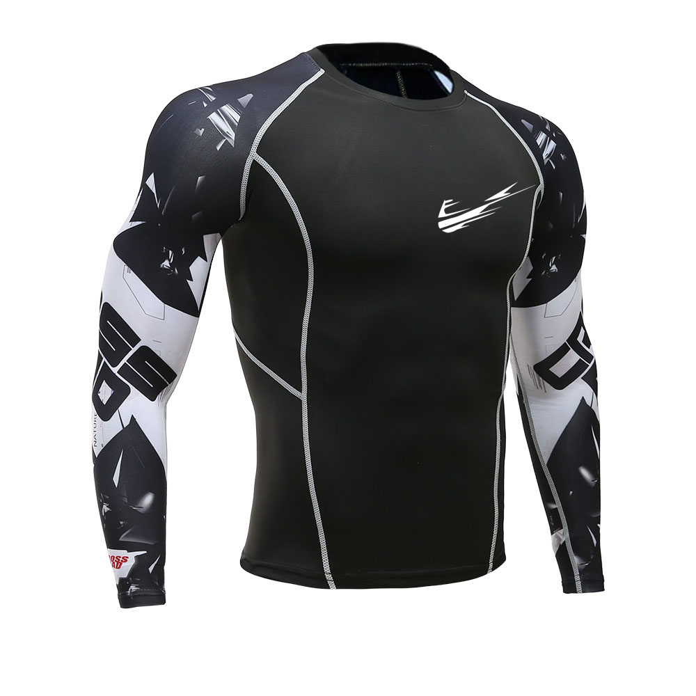 New Men Brand Fitness Long Sleeve Cycling Base Layers Men Bodybuilding Skin Tight Thermal Compression   Shirts   MMA Workout   T     shirt