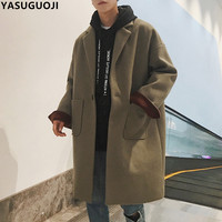 YASUGUOJI 2018 new fashion loose solid color oversize wool long winter coat men thicken woolen overcoat men mont erkek NDY6
