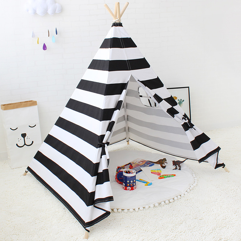 Children's Tent Cotton Canvas Tipi Stripe Teepees For Children Kids Tent Playhouse For Kids Child Cotton Tipi Indoor Teepee children tipi canvas cotton indian tent kids play house teepee baby game room playhouse boys and girls teepees toy tent page 6