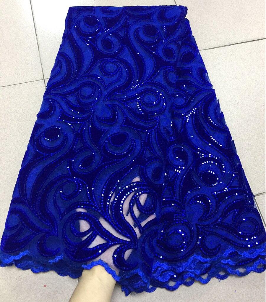 2018 Dernière bleu Royal Français net Lacets avec velours tissu Tissus De Haute Qualité Tulle Lacets Africains Tissu Mariage Nigérian