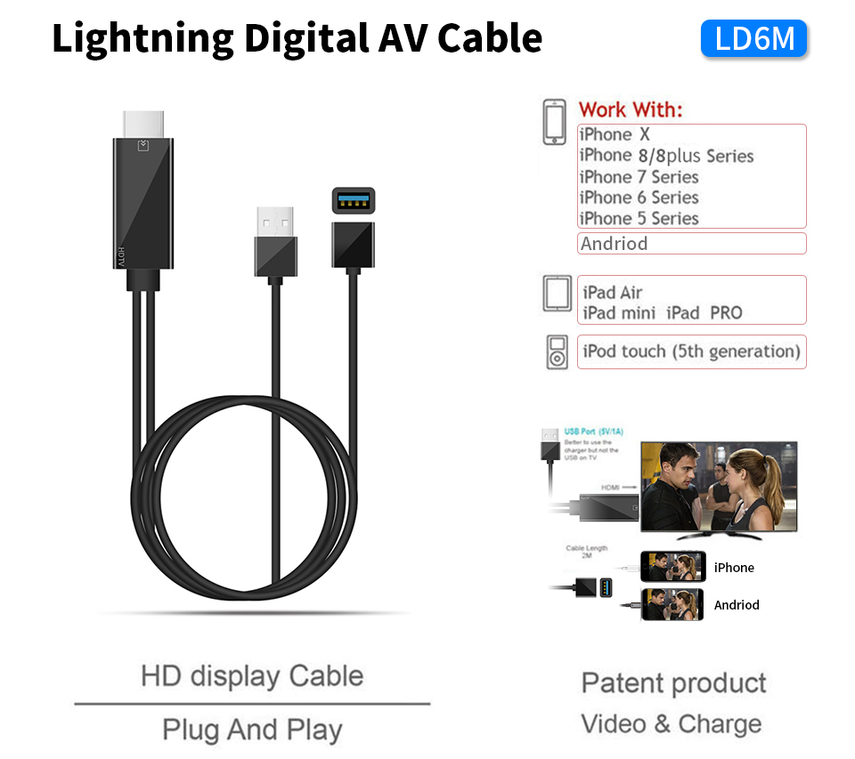 Lighting to HDMI Cable TV Digital AV Adapter USB 1080P Smart Converter Cable for Apple TV for iPhone x 8 8plus 7 7 plus 6 5 s