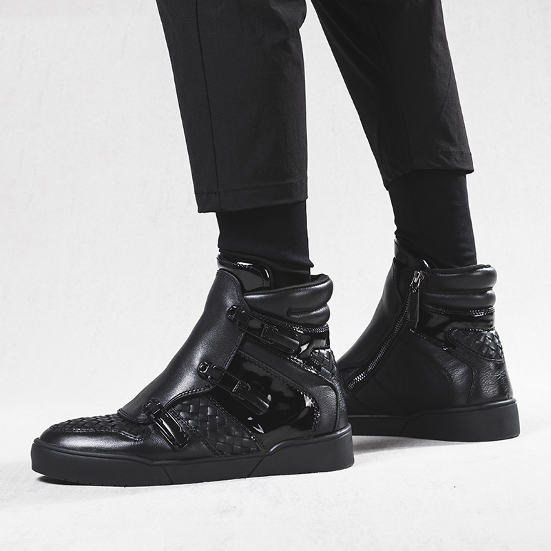 Con Winterjas Negro Moda Martin Heren Caliente Invierno De Botas Genuino Para Felpa Cuero Mycolen Botines Hombre Piel Hombres Zapatos 1AwxU1q7a