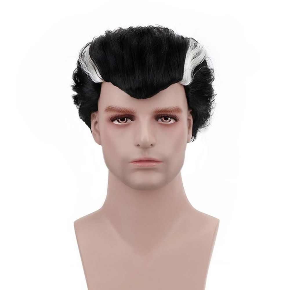 """Бесплатная красота 4 """"короткий волнистый черный синтетический современный вампир косплей Дракула парик для мужчин женщин костюм для вечеринки Рождество Хэллоуин"""