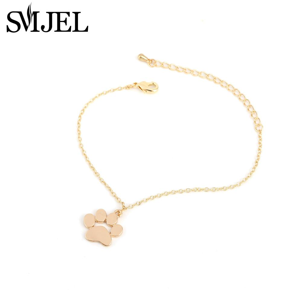 SMJEL New Fashion Cute <font><b>Dog</b></font> <font><b>Paw</b></font> <font><b>Bracelets</b></font> Bangles for Women Cat <font><b>Paw</b></font> Animal Jewelry Party Wholesale Gift 3PCS/B034 image