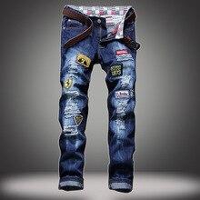 Европа и соединенные Штаты мужские джинсы отверстие патч вышитые значки прямые узкие джинсы без стоимости доставки