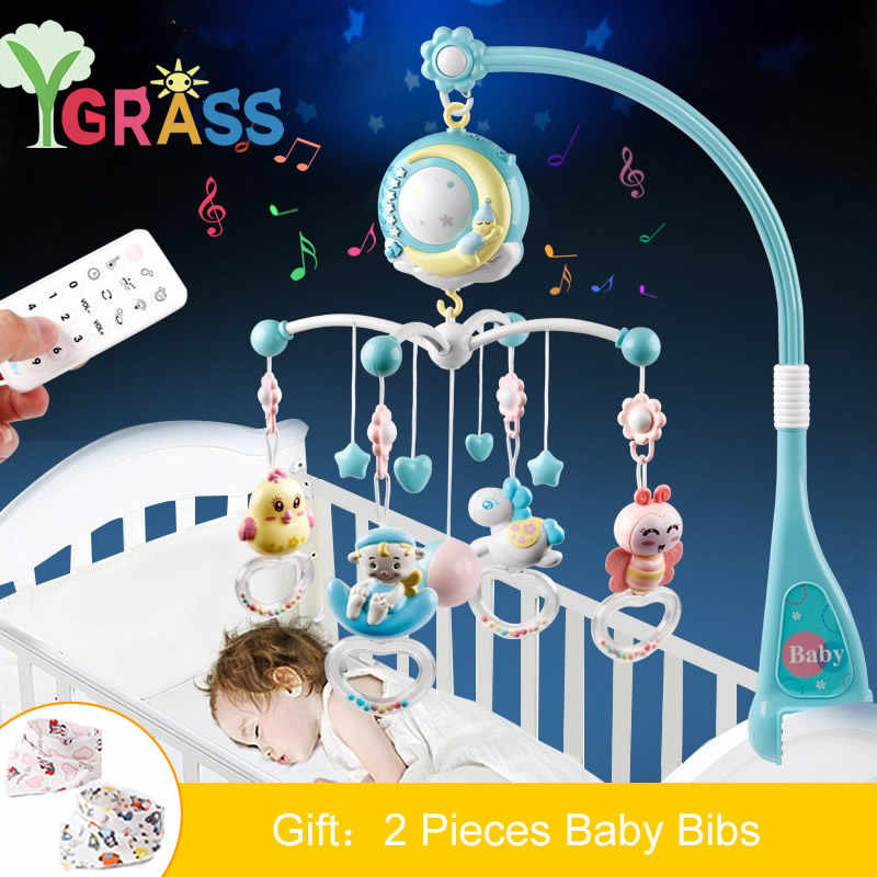 Baby Toys 0-12 Months Cot Mobile Holder Musical Crib Mobiles Rattles Toys Bed Bell Projection Infant Babies Toy For Newborn