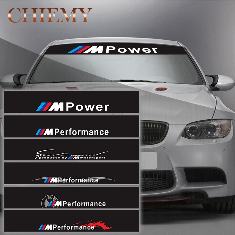 Reflective M Performance Power Front Rear Windshield Window Decal Stickers For BMW F10 F20 F30 M3 M5 e46 e60 e39 e90 X1 X3 X5 2pcs front bumper decal m performance stickers for bmw e90 e46 e39 e60 f30 f31 g30 f85 f16 f10 f34 x3 x4 x5 e70 f15 x6 m3 m5 z4