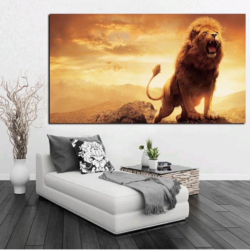 Art wall Home Decor HD prints animal lion love companionship oil painting canvas
