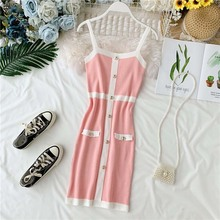 NiceMix Fashion 2019 Button Slim Ladies Summer Knit Mini Short Bodycon Dress Spaghetti Strap Party Dresses Women Casual Sheath V
