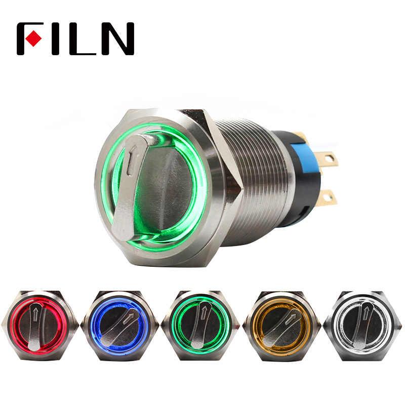 19 мм 2 3 положения Селектор поворотный переключатель кнопочный переключатель dpdt фиксация на выключение В 12 светодио дный в светодиодная подсветка