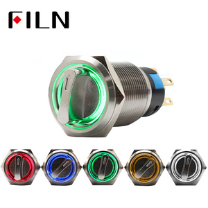 19mm 2 3 position selector rotary switch push button switch dpdt latching on off 12v led illuminated(China)