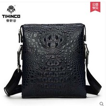 tihinco  Crocodile men bagsmen handbags business OL leather large capacity aslant bag vertical section male leisure bag
