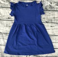 Latest Top Design Baby Boutique Clothes Solid Color Flutter Dress Tunic OEM Cheapest Newborn Girls Ruffle