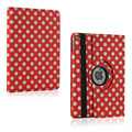 Cute dot 360 rotating case for Ipad air 2 II PU leather flip smart cover wallet book shell stand skin for Ipad6 A1566 A1567