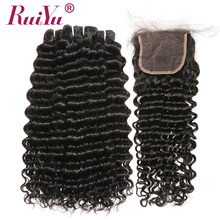 Brazilian Deep Wave Bundles With Closure 100% Human Hair 3 Bundles With Lace Closure Non Remy Hair Weave Double Weft RUIYU Hair(China)