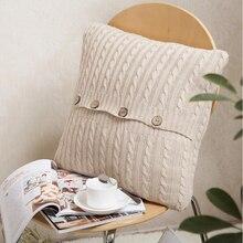 Vintage oreillers cas solide tricoté boutons carré beige coussin couverture souple coussin couvre textile de maison taille 45×45 cm haute qualité
