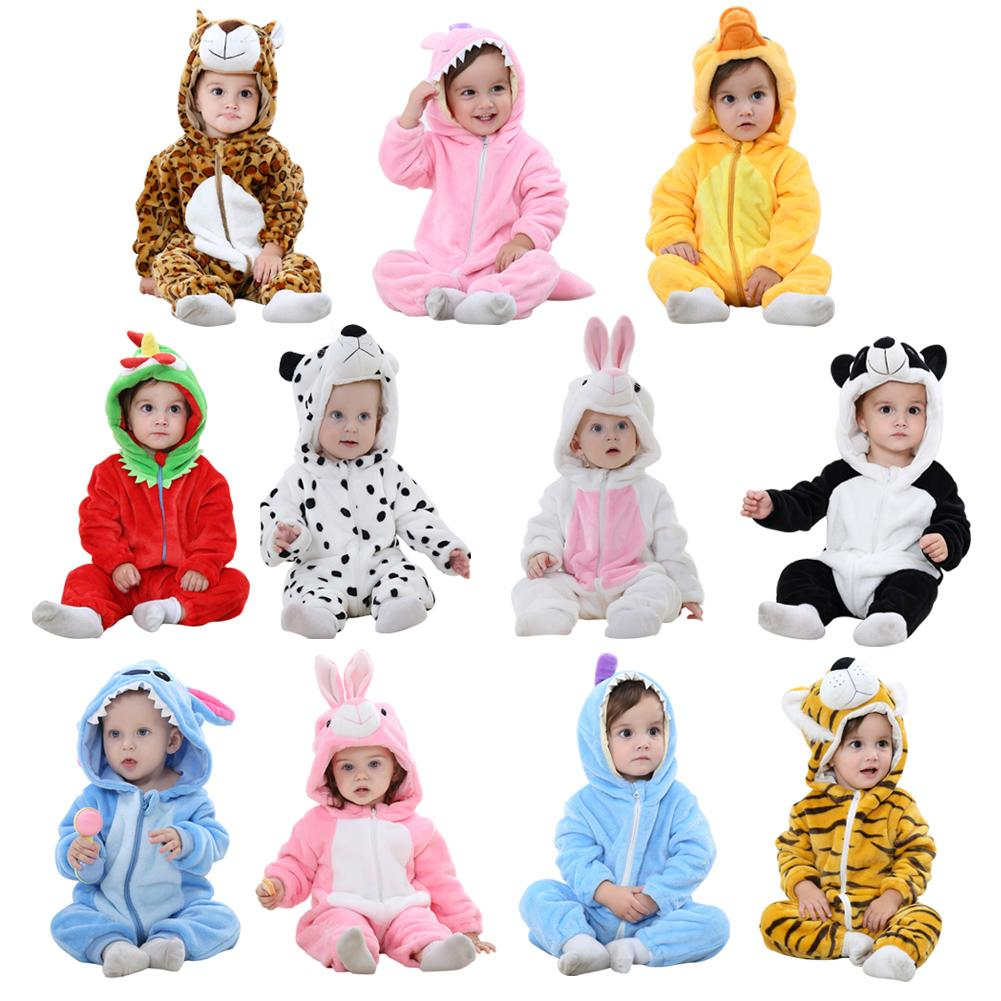 1PCS Four Seasons Universal Flannel Animal Shaped Baby Jumpsuit Lovely Halloween Carnival Cosplay Costumes Suits 11 Styles 100cm