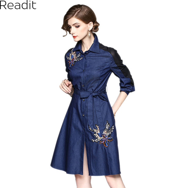 20c9fe860ce6 Readit Embroidery Dress 2017 Winter Dress Dark Blue Denim Dress Ball Gown  With Belt Knee Length Cotton Dress D2573