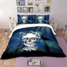 Wongsbedding sugar skull floral bird Bedding Set Duvet Cover Bedclothes Twin queen king size 3pcs dropship