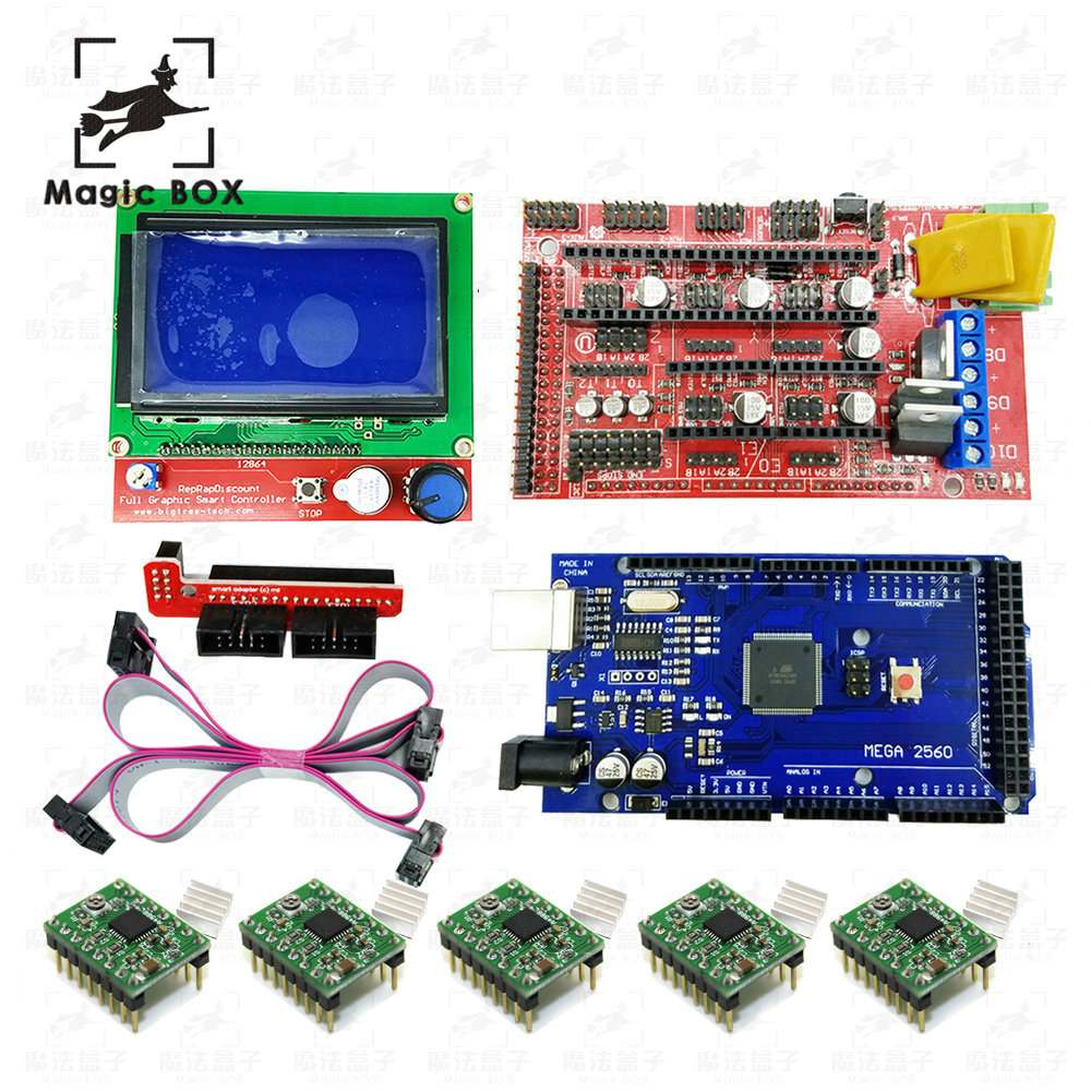 3D Printer RepRap 1set=1pcs Mega 2560 R3 + 1pcs RAMPS 1.4 Controller + 5pcs A4988 Stepper Driver Module +1pcs 12864 controller, цена и фото