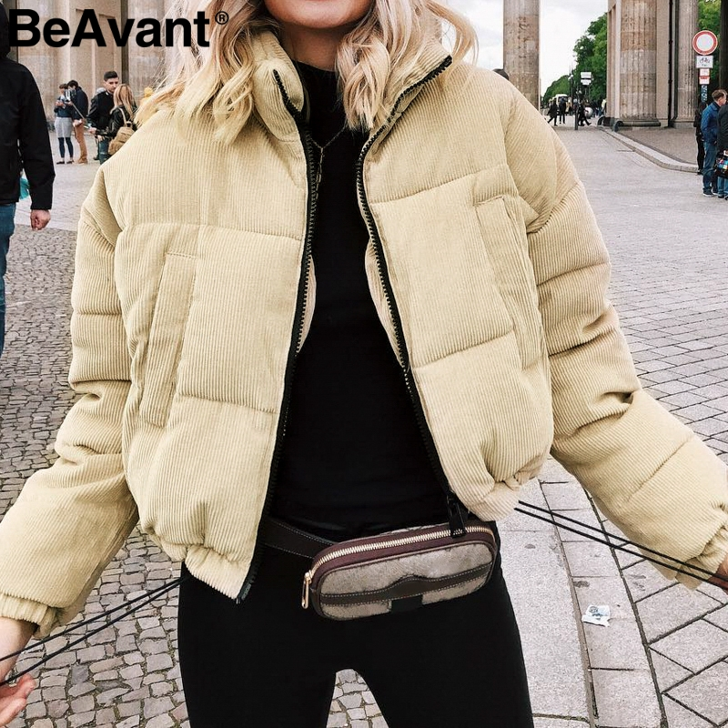 BeAvant Corduroy padded winter coat   parka   women 2018 Warm thick snow wear jacket coat female casual short woman coat outerwear