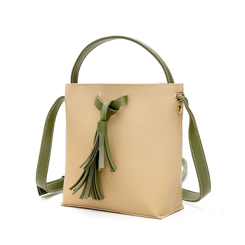 Fashion Trend Mini Bucket Bags Female Tassel Bag Hit Color Small Flap Bag Wild Shoulder Bags Portable Messenger Packet Women New