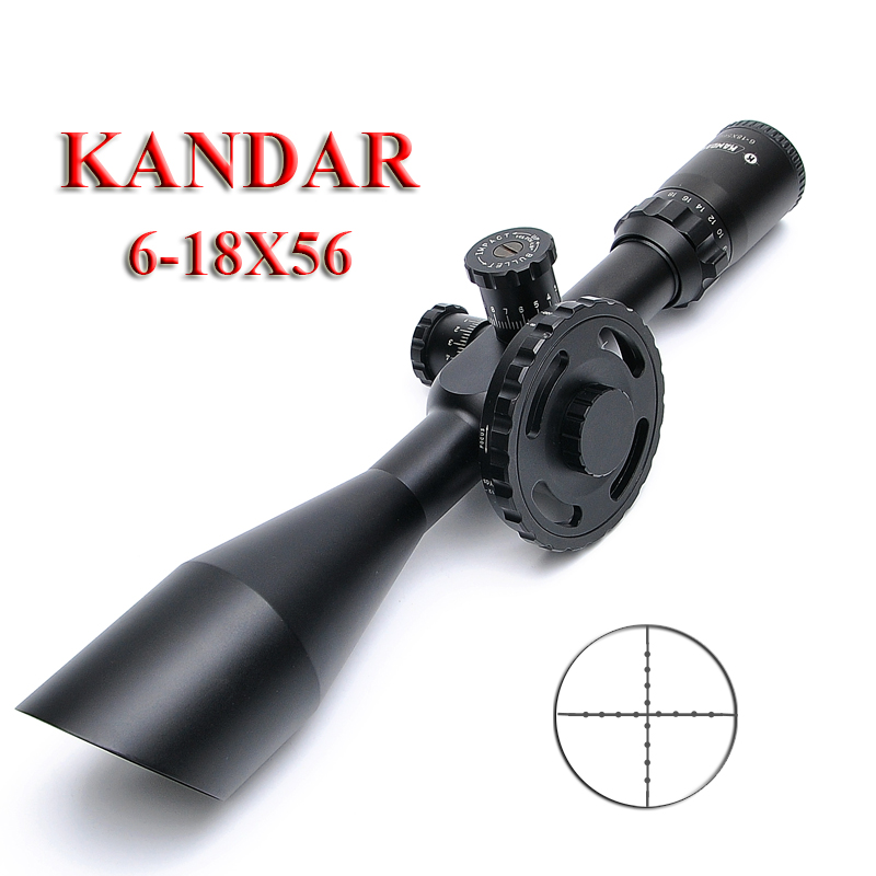 KANDAR 6-18X56 Glass Plate Riflescope Tactical Reticle Sight Rifle Scope Long Eye Relief Rifle Scope For Airsoft Hunting Scopes t eagle 6 24x50 sffle riflescope side foucs rifle scope with spirit level tactical long range rifles airsoft air gun