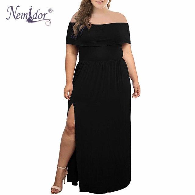 Nemidor 2018 New Arrival Women Sexy Off The Shoulder Party Split Long Dress Vintage Slash Neck Plus Size 7XL 8XL 9XL Maxi Dress 2
