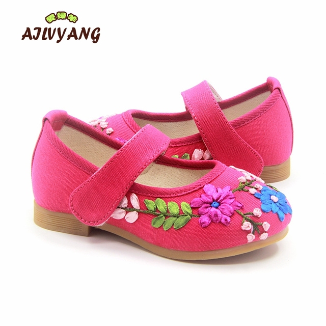 16022450535 Girls Shoes Mary Jane Small Flower Embroidery Chinese Traditional Shoes  Vintage Princess Old Peking Dancing Shoe C175