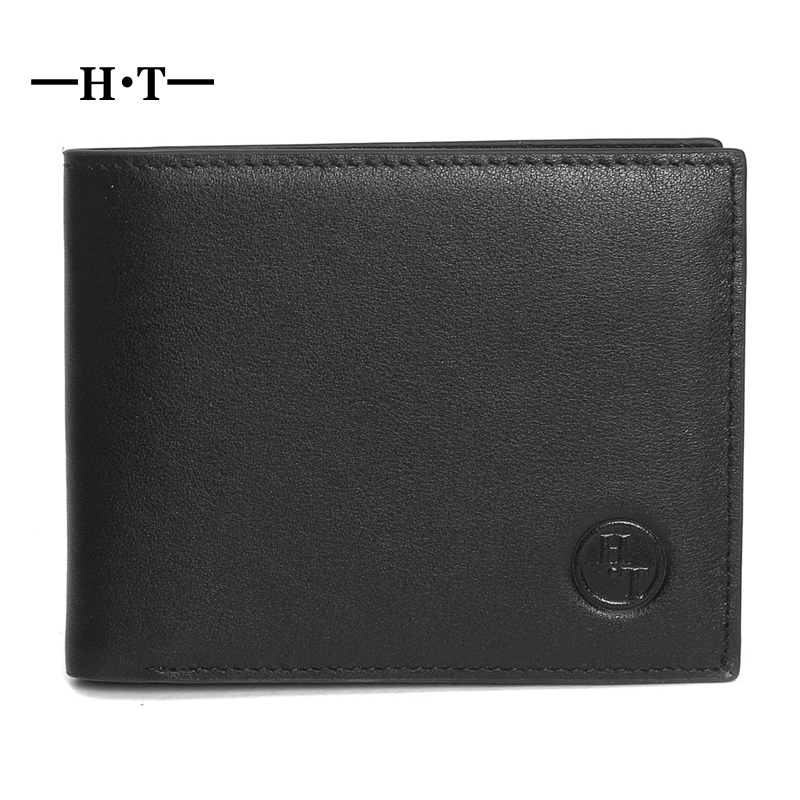 HT Brand New Men Genuine Cow Leather Short Small Foldable Luxury Wallet Male Cowhide Designer Purse Walet With Card Coin Pocket