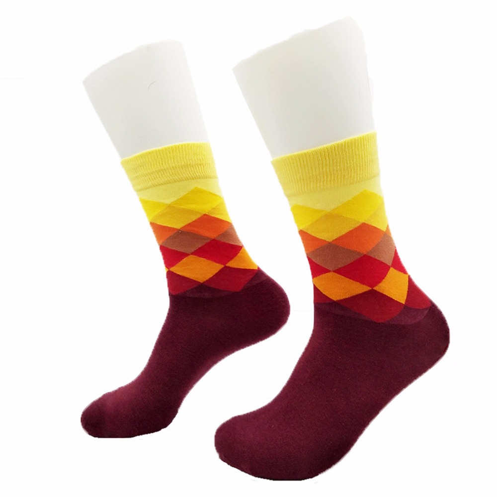 Funny happy Socks Mens socks Cotton Socks British Style Plaid Gradient Color Cotton stripe grid three-dimensional Socks