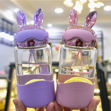 Kawaii Mini Cute Water Bottle  Bpa Free Crystal Kids Drink Rabbit Fruit Infuser My Glass for