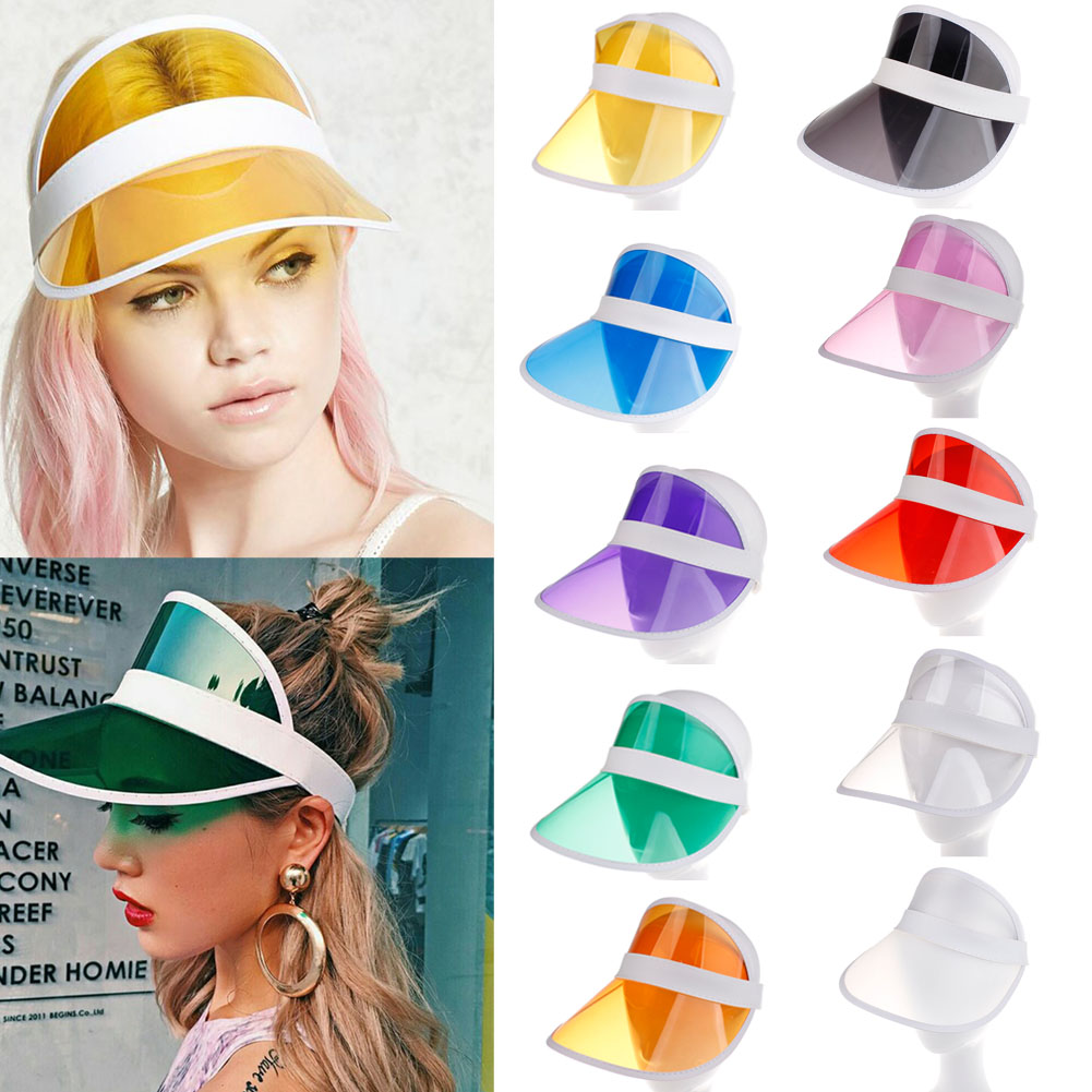 Hirigin 2019 Summer PVC Hat Sun Visor Party Casual Hat Clear Plastic Adult Sunscreen Cap Outdoor Sports Hats Women Ladies