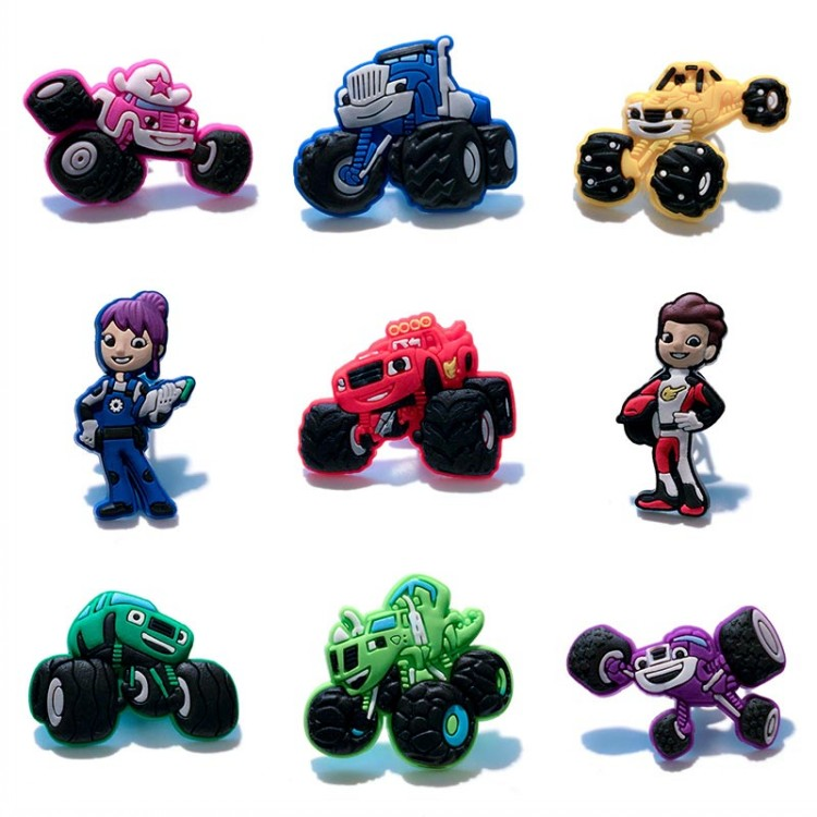 Free shipping 45pcs/lot Monster Truck Racing PVC shoe charms shoe accessories shoe decoration for croc jibz kids gift Kids Gift guarantee 100% free shipping 16pcs lot home pvc kid s shoe charms shoe accessories shoe decoration for clog wristbands kid gift