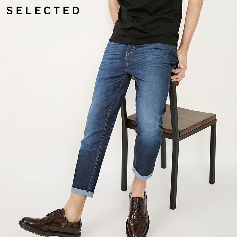 SELECTED 2019 Spring Summer New Men's Slight Stretch Mid-rise Tapered Crop Jeans S|418132516