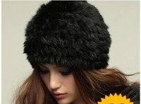 משלוח חינם האן מהדורה של שיער ארנב וטרה צעיף כובע סרוג מחממי אוזני פרווה החורף נשי כומתת כובע קש