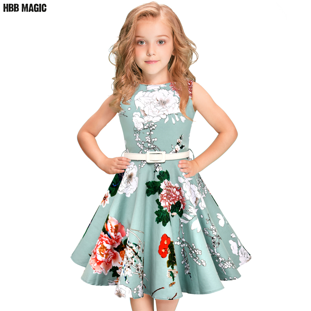 цена на 5-12Year Children Girls Summer Dress 50s 60s Vintage Retro Rockabilly Floral Print Swing Cotton Dress Kids Party Princess Dress