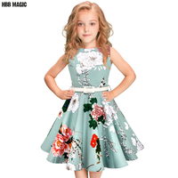 5 12Year Children Girls Summer Dress 50s 60s Vintage Retro Rockabilly Floral Print Swing Cotton Dress Kids Party Princess Dress