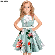 5 12year crianças meninas vestido de verão 50s 60s vintage retro rockabilly floral impressão swing algodão vestido crianças festa princesa vestido