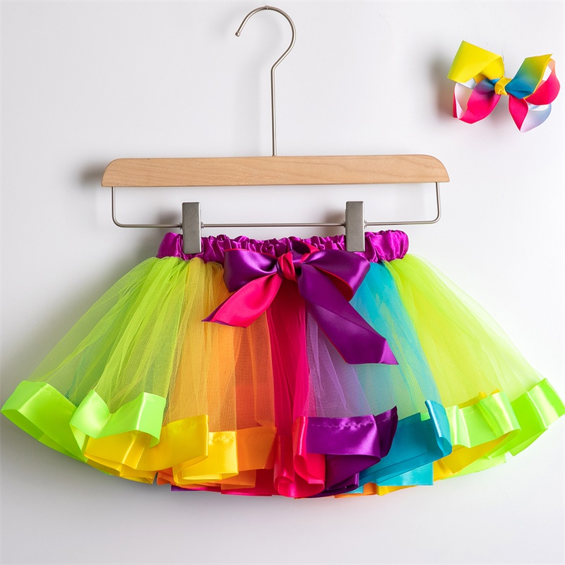 Юбка-пачка; юбки для маленьких девочек от 1 до 8 лет; юбка-американка принцессы; фатиновые юбки радужной расцветки для вечеринок и танцев; Одежда для девочек; одежда для детей - Цвет: 3