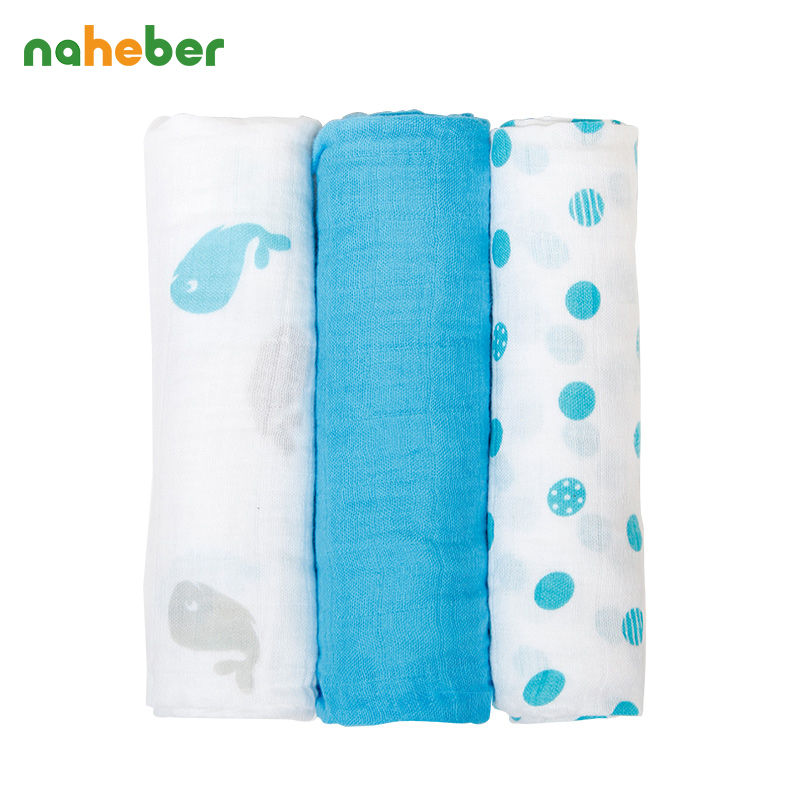 3Pcs Set 70x70cm Muslin Cloth Cotton Baby Swaddles Newborn Baby Blankets Double Layer Gauze Bath Towel Hold Wraps