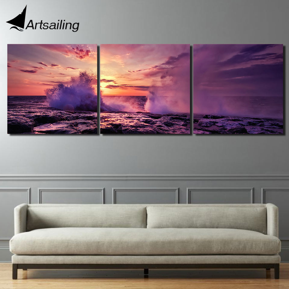 Aliexpress Com Buy Free Shipping 3 Piece Wall Decor: Aliexpress.com : Buy 3 Piece Printed Seascape Sunset Sea