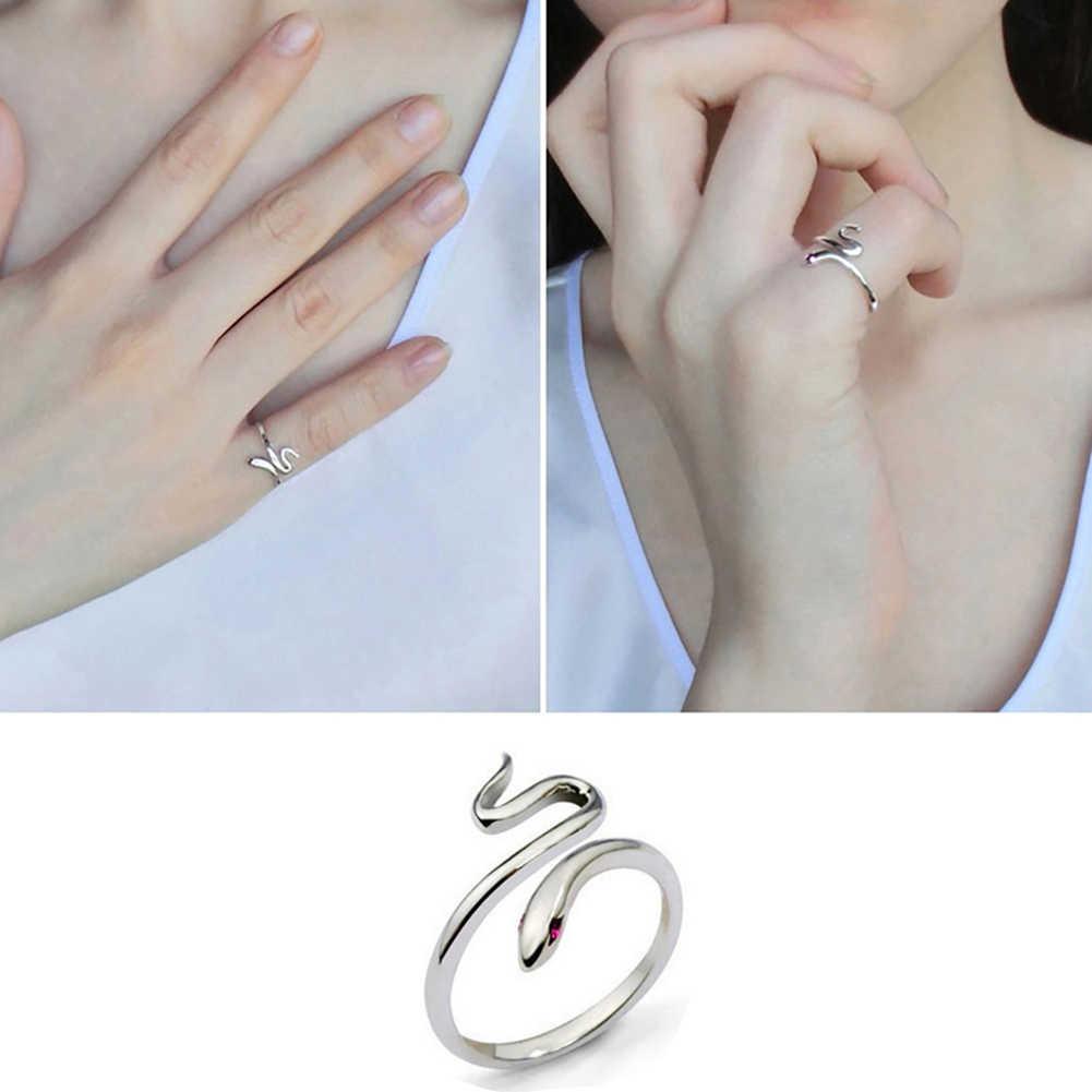 Venda quente moda banhado a prata abertura ajustável anel de dedo cobra para presente feminino transporte da gota